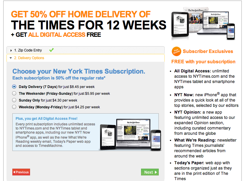 Home Delivery offer valid for new subscribers in areas served by The New York Times Multiple Bundle Options · 1+ Bonus Subscriptions · Subscriber Only DiscountsTypes: Culture, Business, Science, Style, Travel, Health & Wellness, Politics, Podcasts.