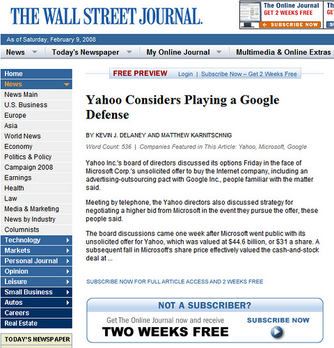 WSJ On Google News