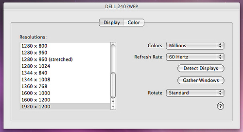 DELL 2407WFP MacBook Display Settings