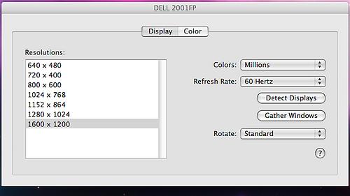 DELL 2001FP MacBook Display Settings
