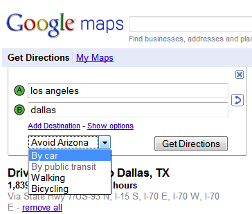 "Google Maps Gains ""Avoid Arizona"" Option"