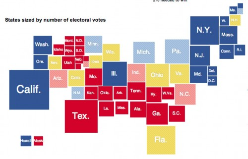 The Electoral College Map Done Right States Sized By Votes - Us electoral map calculator